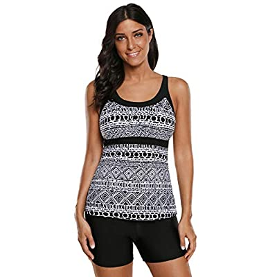 REKITA Women's Swimsuits Color Block Tankini Top Boyshort Swimwear at Women's Clothing store