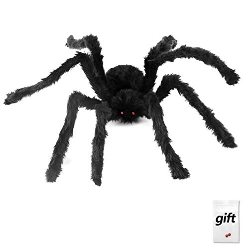 90cm Scary Halloween Black Spider Spooky Fake Spider Plush Toy For Halloween Party Decoration Props Prank Trick, Plus A Pair of Spider Eyes For Free