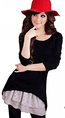 Uget Cute Long Sleeve Two Piece Cotton Dresses for Women Pullover Tunic Tops