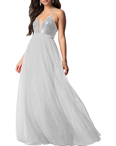 Ever Beauty Womens Long V Neck Sequin Tulle Evening Gown Sleeveless
