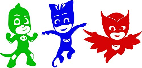 Maple Decal Set - Maple Enterprise PJ Masks Vinyl Sticker Set Cat Boy Owlette and Gekko Decals for Your Kid's Room, Windows, Walls, Doors, Gift Bags. PJ Masks