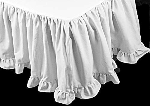 WHITE SOLID EGYPTIAN COTTON SPLIT CORNER BOTTOM EDGE RUFFLE BED SKIRT 400 TC QUEEN (60 x 80) SIZE 21 INCH DROP LENGTH ()