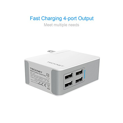 hot sale 2017 TeckNet 24W 4-Port Desktop Travel USB Wall Charger with BLUETEK Technology for iPhone 7 / 6s / 6 Plus, iPad Air 2 / Pro / Mini 3, Galaxy S8 / S7 / S6 Edge / Plus, Note 5 / 4, LG, Nexus, HTC and More
