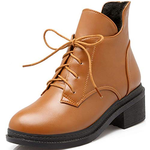 Women's Casual Chunky Heel Lace Up Martin Boots Platform Round Toe Winter Warm Short Ankle Booties Brown