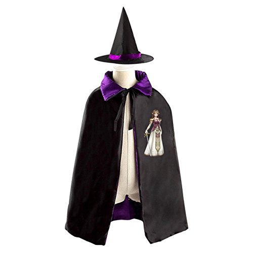 Halloween Wizard Witch Kids Cape With Hat Princess Zelda Party Christmas Costume Cloak