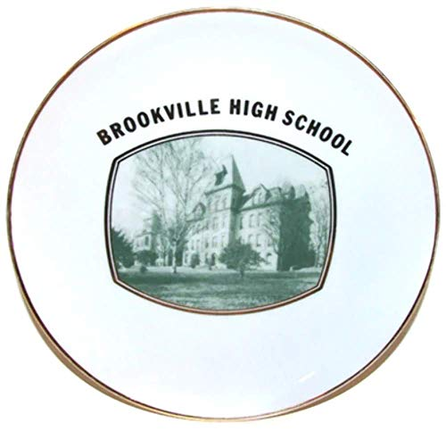 Old Porcelain Photo Plate of Brookville High School in Brookville, PA ()