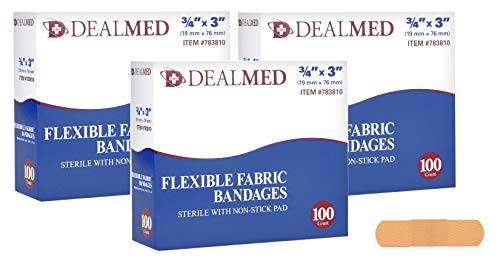 Dealmed Sterile Flexible Fabric Adhesive Bandages with Non-Stick Pad, 3/4