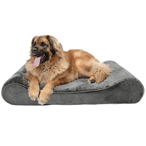Furhaven Pet Dog Bed | Orthopedic Minky Plush & Velvet Ergonomic Luxe Lounger Cradle Mattress Contour Pet Bed w/ Removable Cover for Dogs & Cats, Gray, Jumbo Plus