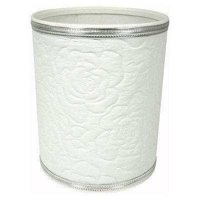 Traditional Times Quilted Rose Pattern Round Vinyl Wastebasket R136WHSV