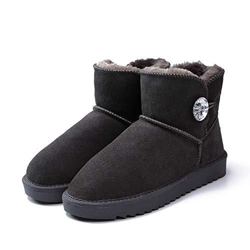 Boucle Chaussures Balle Bottes Franges Exercices Coton Canon dérapants Hiver À Court Poncé De Anti Gris Femme Cuir Xiguaboot Snowboots ZUxd88w