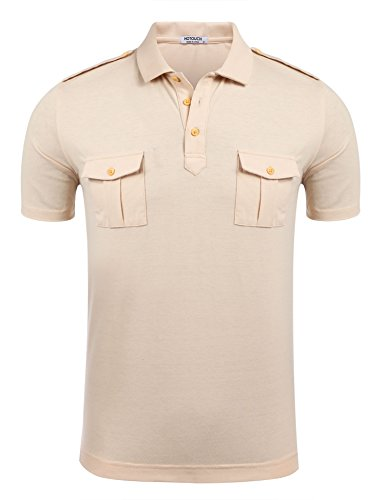 Cotton Performance Muscle Shirt (HOTOUCH Men's Short Sleeve Work Uniforms Performance Polo Shirt (Beige XXL))