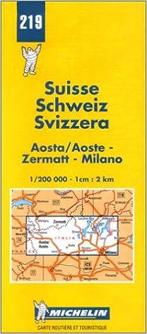 Milano Map No Zermatt Michelin Aosta // Aoste 219