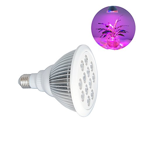 Powseed 12W LED Plant Grow Light Bulb for Hydroponic Garden Greenhouse Indoor Flower Herb Vegetable Growing 9 Red/3 Blue Lighting Spectrum Lamps Fit E27 Socket