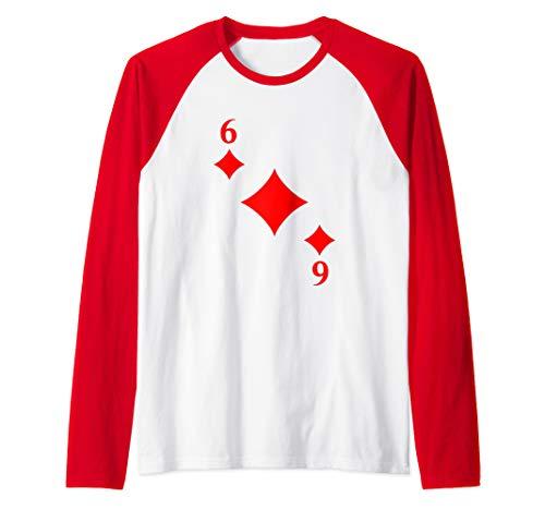 Six of Diamonds Playing Card Costume Halloween Deck Cards  Raglan Baseball Tee -