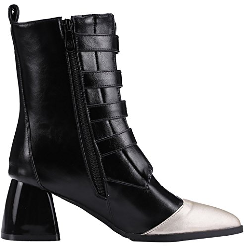 Arraysa Women Abhbd 6CM Zipper Block Heel Boots Black KFmyf7fpU