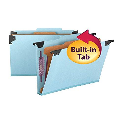 Smead FasTab Hanging Pressboard Classification Folder with SafeSHIELD Fastener, 1 Divider, 2/5-Cut Built-in Tab, Legal Size, Blue, 10 per Box (65155)