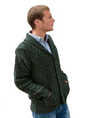 Aran Crafts Shawl Collar Grandfather Cardigan Green (Sweater Cardigan Collar)