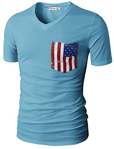 H2H Men Casual V-Neck Short Sleeve T-Shirts with American Flag Chest Pocket Sky US 2XL/Asia 3XL (CMTTS0173)