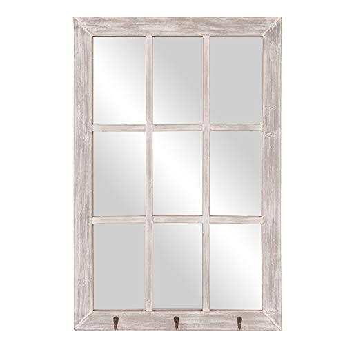 24x36 Distressed White Windowpane Wall Mirror with Hooks (Frames White Wall Distressed)