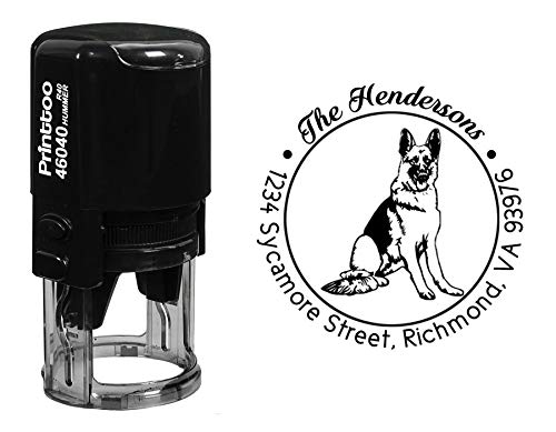 Printtoo Custom Round German Shepherd Dog Address Rubber Stamp Personalized Self Inking Gift Idea-Black