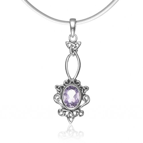 Chuvora 925 Sterling Silver Celtic Trinity Knot Purple Amethyst Gemstone Pendant Necklace, 18 inches