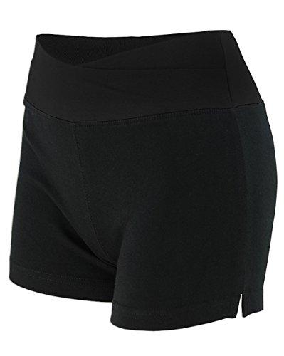 - Basico Womens Lady Cotton Spandex Fold Over Waist Yoga Short Pants (Large, Solid-black)