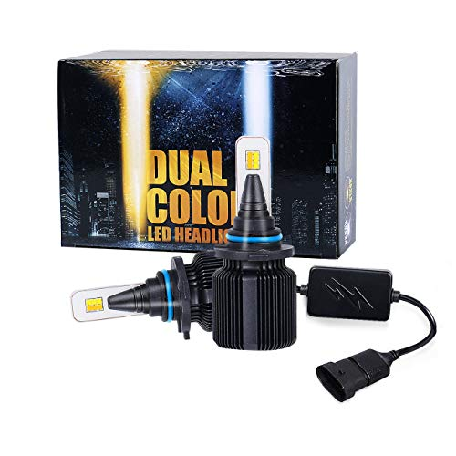 (2018 J+ 9006 Low Beam headlamp & Fog Driving Light, Gold White Dual Color LED with 8000lm Souel LED Chips,LED Headlight Conversion Kit Low Beam & Fog Light,3000K/6500K,9006 HB4 9006XS -1 Yr Warranty)