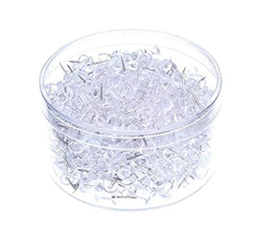 (Push Pins 600 Count, Clear Thumb Tacks with Stainless Steel Point and Standard Plastic Head)