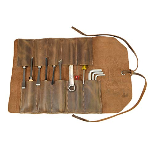 Hide & Drink, Rustic Leather Small Tool Roll Mechanic Tool Design/Garage/Work Storage Essentials Handmade Includes 101 Year Warranty :: Bourbon Brown ()