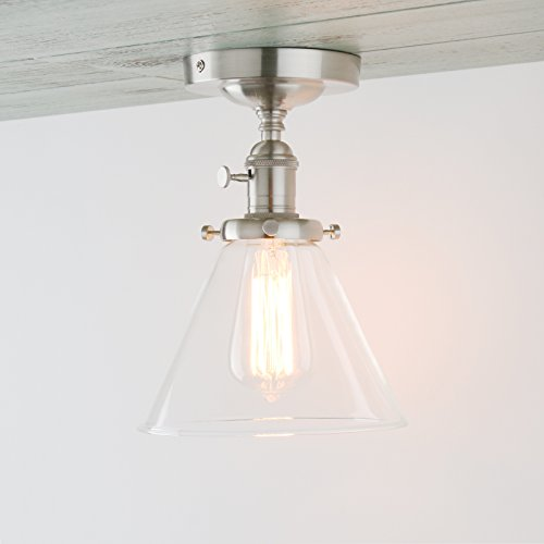 (Permo Vintage Industrial Semi Flush Mount Ceiling Light Fixture Pendant Lighting with Funnel Flared Clear Glass Shade (Brushed))