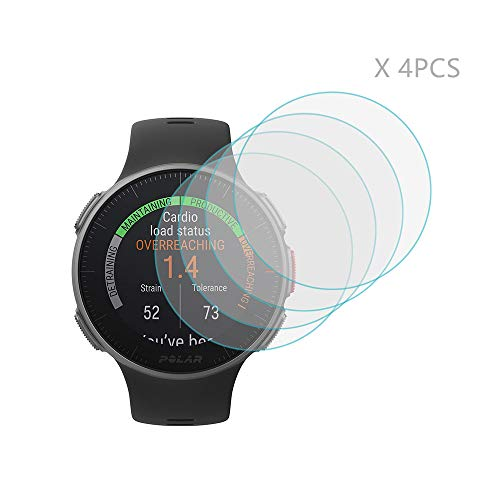 (4 PCS) Polar Vantage V Screen Protector, HLH 9H Hardness Anti - Scratch Tempered Glass Screen Protector for Polar Vantage V Watch Anti - Bubble Film - New