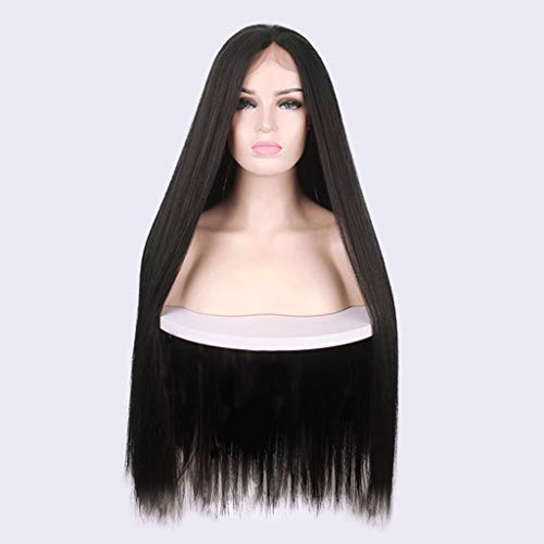 GHHJ Long Straight Hair with Central Parting, Side Hanging, High Temperature Resistant Cosplay Wig, Suitable for Women (Black)