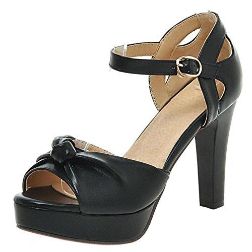 Coolcept Women Fashion Peep Toe Sandals Heels Pu Black