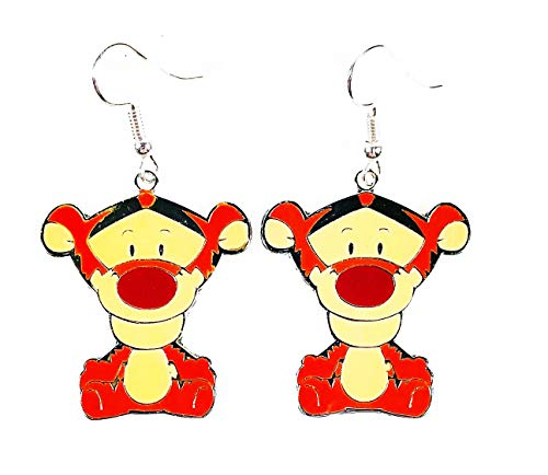 Disney Winnie the Pooh Tigger Character Double sided Metal Drop Dangle Hook Earrings With Gift Box