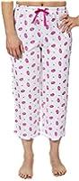 Leisureland Women's Cotton Knit Pajama Lounge Capri Pants Smooch Kiss Lips
