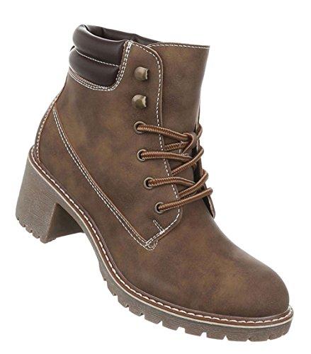 Damen Schuhe Stiefeletten Used Optik Schnürer Boots Hellbraun