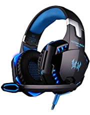 KOTION EACH G2000 PC Gaming Headset Over-ear with Volume Control with Mic Stereo Bass LED Light