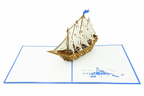 PopLife Sailboat Tall Ship 3D Pop Up Greeting Card for All Occasions - Boaters, Pirates, Ocean Lovers - Folds Flat for Mailing - Birthday, Graduation, Retirement, Anniversary Gift