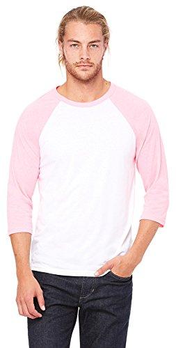 Bella mens Unisex 3/4-Sleeve Baseball T-Shirt(3200)-WHITE/ NEON PINK-XS