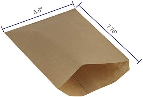 BagDream 5.5x7.75 Inches Kraft Paper Bags Pack of 100 Flat Greaseproof Paper Bags Greaseproof Envelopes Brown Paper Snack Bags Cookie Bags Popcorn Bags