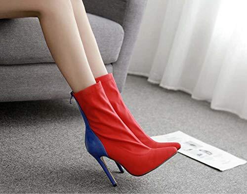 Tacón Vestido Alto Tamaño De UE Las Zapatos De Dedo Pie De Red Elástica De La 35 42 Gran Puntiagudas Tela Botín Colormatch Botas Tamaño del Mujeres AB6OqAwT