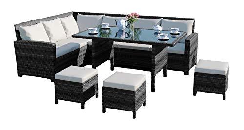 9 Seater Rattan Corner Garden Sofa & Dining Set Furniture INCLUDES