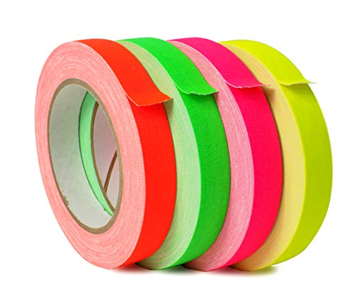 (WOD FCT-665 Premium Grade Fluorescent Multi-Color Rainbow Gaffer Tape, Secures Cables, No Sticky Residue, UV Blacklight Reactive (Available in Multiple Sizes & Colors): 1/2 in. X 25 yds. (4-Rolls))