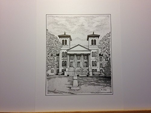 Wofford ''Old Main'' 9''x12'' pen and ink print by Campus Scenes