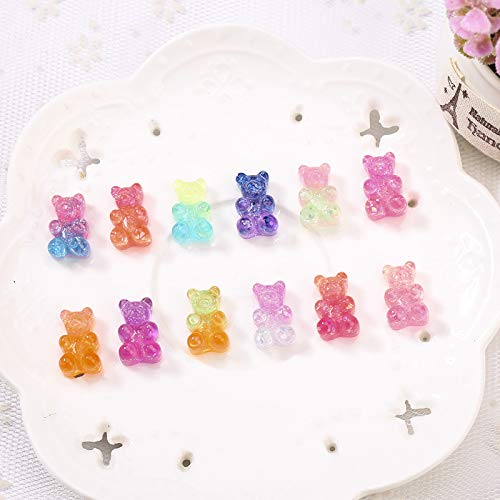 MOBITEL Figurines & Miniatures - 20pcs 1017MM Glittering Sweet haribo Gummy Bear Gradient Color Flatback Resin Cabochons Charms for Headwear Accessories 1 PCs]()
