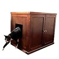 La caja de arena para gatos de madera felina refinada, caoba