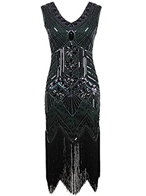 Killreal Women's Vintage Inspired Beaded Sequin Cocktail Banquet Evening Dress