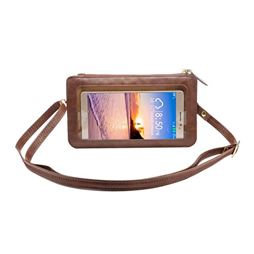 Shoulder Wallet Universal 4 iPhone Moon mood Pouch Cell with Lanyard Strap Purse Samsung Smartphone View for 6 Bag Case Touch Phone Bags Black Leather Crossbody PU Screen Adjustable Coffee inch Window OwwIv