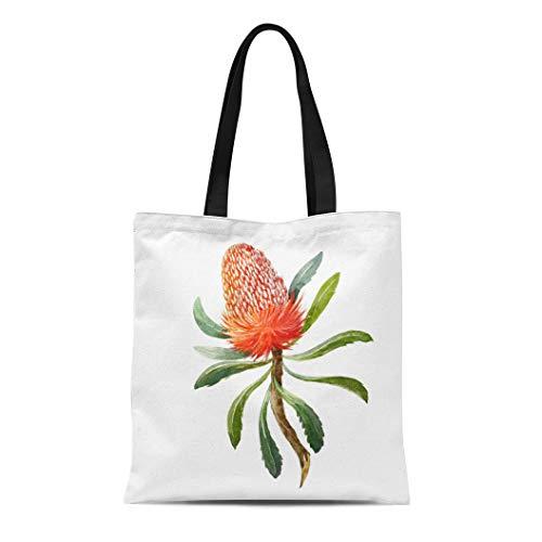 Banksia Flower - Semtomn Canvas Tote Bag Shoulder Bags Colorful Exotic Watercolor Botanical of Banksia Flower on White Women's Handle Shoulder Tote Shopper Handbag