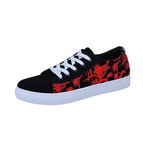 Cordones Deporte Tobillo Malla Hombre Jiameng Con Rojo Entrenamiento De Impresión Plano Bajo Zapatillas Talón Graffiti Para Casual Zapatos 6wFqHU